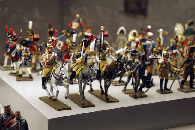 Paris - 5 décembre 2018 - cavalerie miniature soldat collection de jouets dans Les Invalides Army Museum, Paris, France — Photo de stock