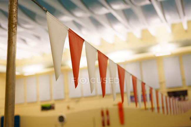 Red and White decorative flags — Stock Photo