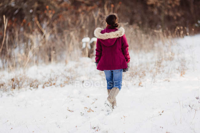 Ragazza a piedi in un giorno d'inverno — Foto stock