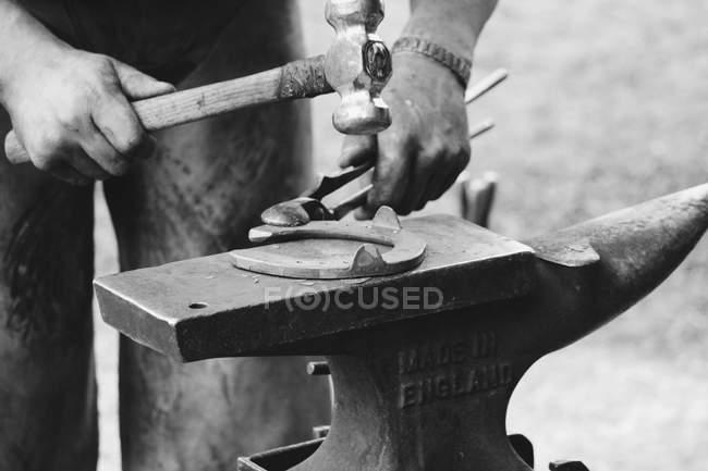Real scene of horseshoeing process — Stock Photo