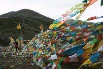 Bandiere di preghiera vicino a un luogo sacro — Foto stock