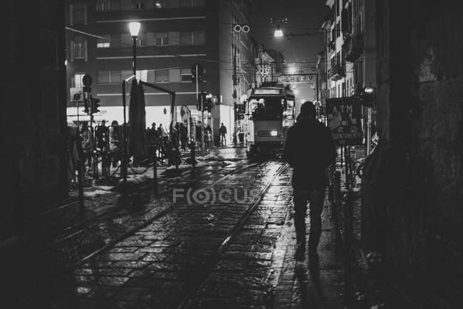 Tram number three cruising on streets — Stock Photo