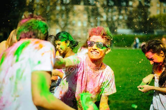 Holi War, mock Holi Festival — Stock Photo