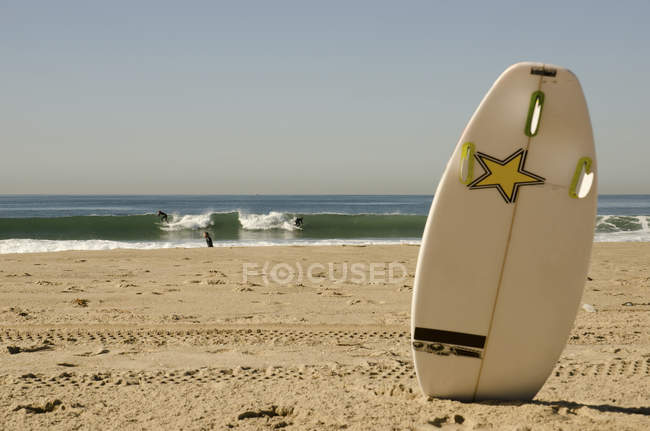 Surfers on beach in los angeles during daytime and surf board on foreground , California, USA — Stock Photo