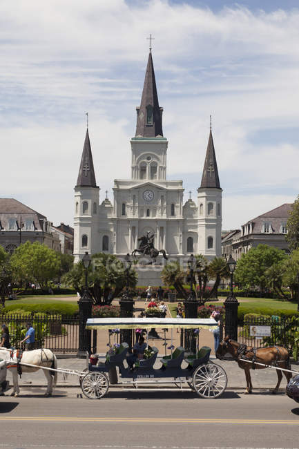 St. Louis Cathedral on background and carriage with horses on foreground , New Orleans, Louisiana, USA — Stock Photo
