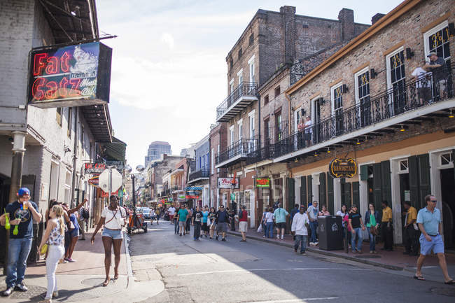 View of Bourbon street, french quarter of New Orleans, Louisiana, USA — Stock Photo