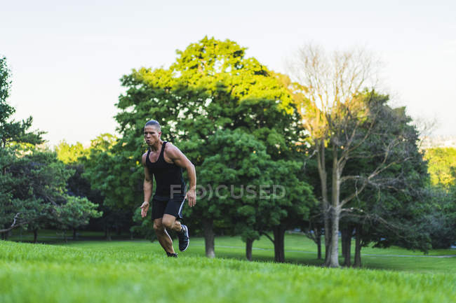 Athletic man running up hill in park — Stock Photo