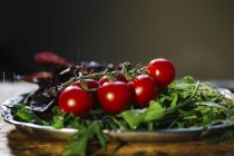 Bunch of cherry tomatoes and arugula — Stock Photo