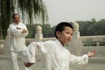 Junge und ältere Menschen, die Tai Chi zu tun — Stockfoto