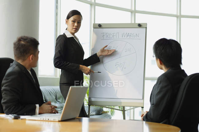 Businesswoman giving presentation — Stock Photo