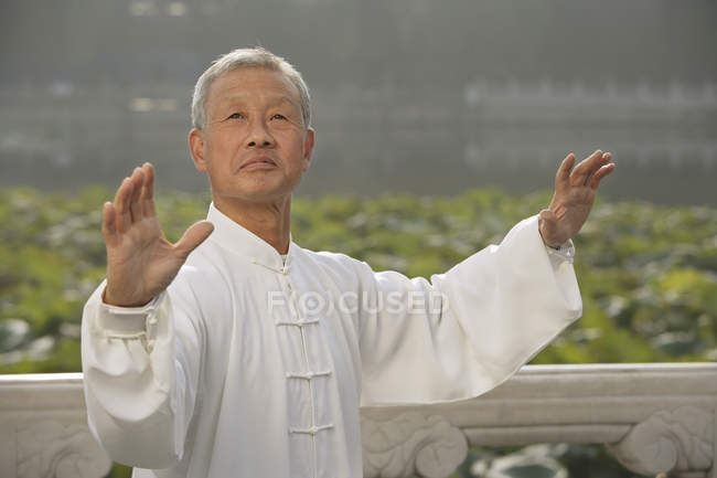 Man practices Chinese martial arts — Stock Photo