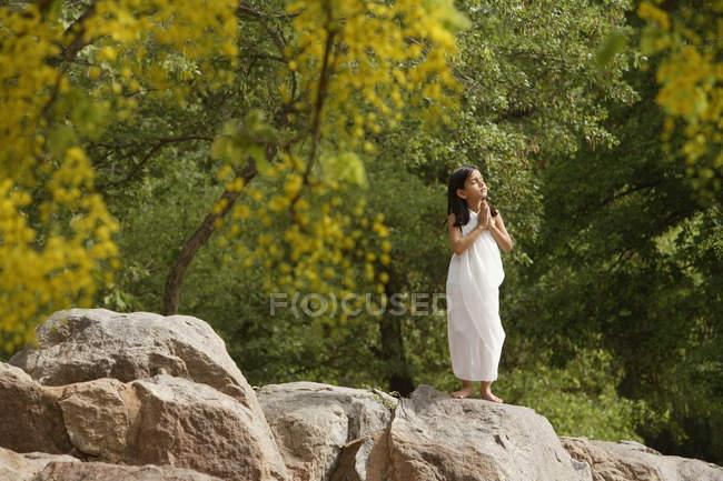 Girl in white sari — Stock Photo