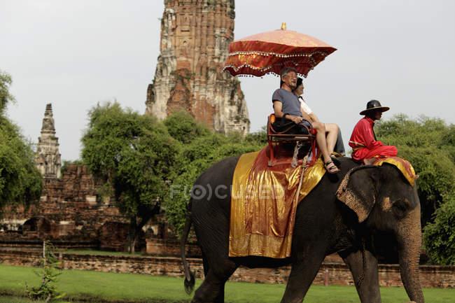Touristen reiten Elefanten — Stockfoto