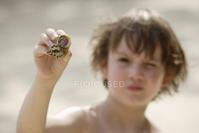 Boy holding up hermit crab — Stock Photo