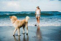 Женщина гуляет с собакой на пляже — стоковое фото