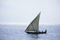 Dhow in sagoma sull'oceano indiano — Foto stock