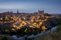 Cityscape at dusk, Toledo — Stock Photo