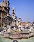 Fontaine et l'Obélisque de la Piazza Navona — Photo de stock