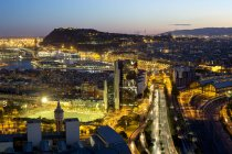 Elevated dusk view over Barcelona — Stock Photo