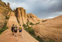 Trekkers walking along Slickrock trail — Stock Photo