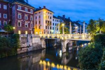 Bridge over Ljubljanica River — Stock Photo