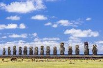 Moai restored ceremonial site — Stock Photo