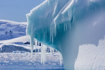 Icicles hang from glacial — Stock Photo