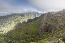 View of volcanic mountains surrounding Cova de Paul — Stock Photo