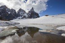 Таненням, залишаючи деякі калюжі біля підніжжя снігу — стокове фото