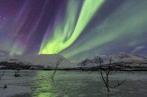 Aurora Borealis on frozen lagoon of Jaegervatnet — Stock Photo