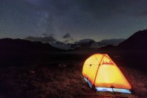 Tent under stars around Fenetre Lakes — Stock Photo