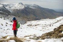 Woman trekking trail towards Tryfan — Stock Photo