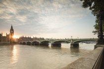 Westminster Bridge on River Thames — Stock Photo