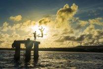 Ragazzi che saltano nell'acqua della Laguna — Foto stock