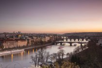 Vltava River at sunset, Prague — Stock Photo