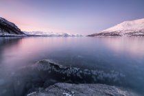 Pink sky and snowy peaks reflected in sea — Stock Photo