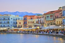 Chania, Crete, Greek Islands, Greece - May 24, 2017: Venetian Harbour and old buildings — Stock Photo