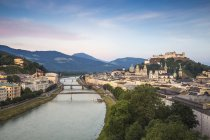 Salzach River and Hohensalzburg Castle — Stock Photo