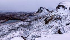 Quiraing landslip in snow — Stock Photo