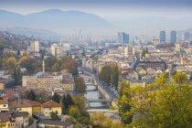 Cityscape and Miljacka River — Stock Photo