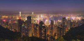Skyline von Hong Kong bei Nacht — Stockfoto