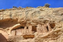 Target Ruins carved in cliff, Ancestral Pueblo, Coomb Ridge area, Utah, United States of America, North America — Stock Photo