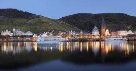 Bernkastel-Kues reflected in Moselle River at dusk, Rhineland-Palatinate, Germany, Europe — Stock Photo