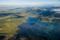 Aerial view of Cook Inlet coast, Katmai National Park and Reserve, Alaska, United States of America, North America — Stock Photo