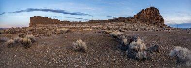Sagebrush e uma grande massa rochosa ao nascer do sol no deserto, Oregon, Estados Unidos da América, da América do Norte — Fotografia de Stock