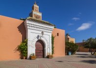 Entrance of Minaret of Koutoubia Mosque, Marrakesh, Morocco, North Africa, Africa — Stock Photo