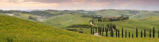 Vista panorâmica do pôr do sol sobre Agriturismo Baccoleno e caminho sinuoso com ciprestes, Asciano na Toscana, Itália, Europa — Fotografia de Stock