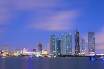 Illuminated night skyline of Downtown Miami, Miami, Florida, United States of America, North America — Stock Photo