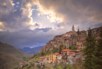 Traditional village of Apricale in mountains — Stock Photo