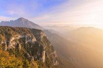 Grigna meridionale at sunrise under dramatic sky, Lecco, Lombardy, Italian Alps, Italy — Stock Photo